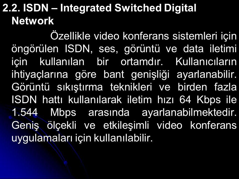 2.2. ISDN – Integrated Switched Digital Network Özellikle video konferans sistemleri için öngörülen ISDN, ses, görüntü ve data iletimi için kullanılan