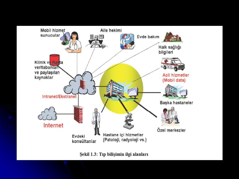 İlgili konular  Veri, bilgi (elde edilmesi, saklanması vb.)  Kodlama sistemleri  Veri işleme  Veri tabanı yönetim sistemleri  Telekomünikasyon sistemleri (teletıp uygulamaları)  Tıbbi sınıflandırma sistemleri (snomed, ICD–10 vb.)  Hasta kayıt sistemleri, elektronik hasta kayıtları  Biyosinyal analizleri (EKG yorumlayan yazılımlar vb.)  Tıbbi görüntüleme sistemleri ( USG, MRG vb.)  Görüntü işleme ve analiz yöntemleri  Klinik bilgi sistemleri  Toplum hekimliği bilgi sistemleri  Hemşirelik bilgi sistemleri  Karar destek sistemleri  Sağlık bilgi sistemleri (halk sağlığı, birinci basamak bilgi sistemleri)  Hastane bilgi sistemleri (idari ve finansal uygulamalar)  Bilgi sistemleri güvenliği