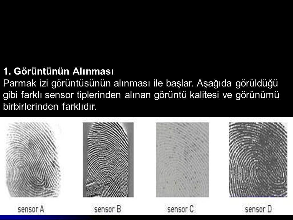 1. Görüntünün Alınması Parmak izi görüntüsünün alınması ile başlar. Aşağıda görüldüğü gibi farklı sensor tiplerinden alınan görüntü kalitesi ve görünü