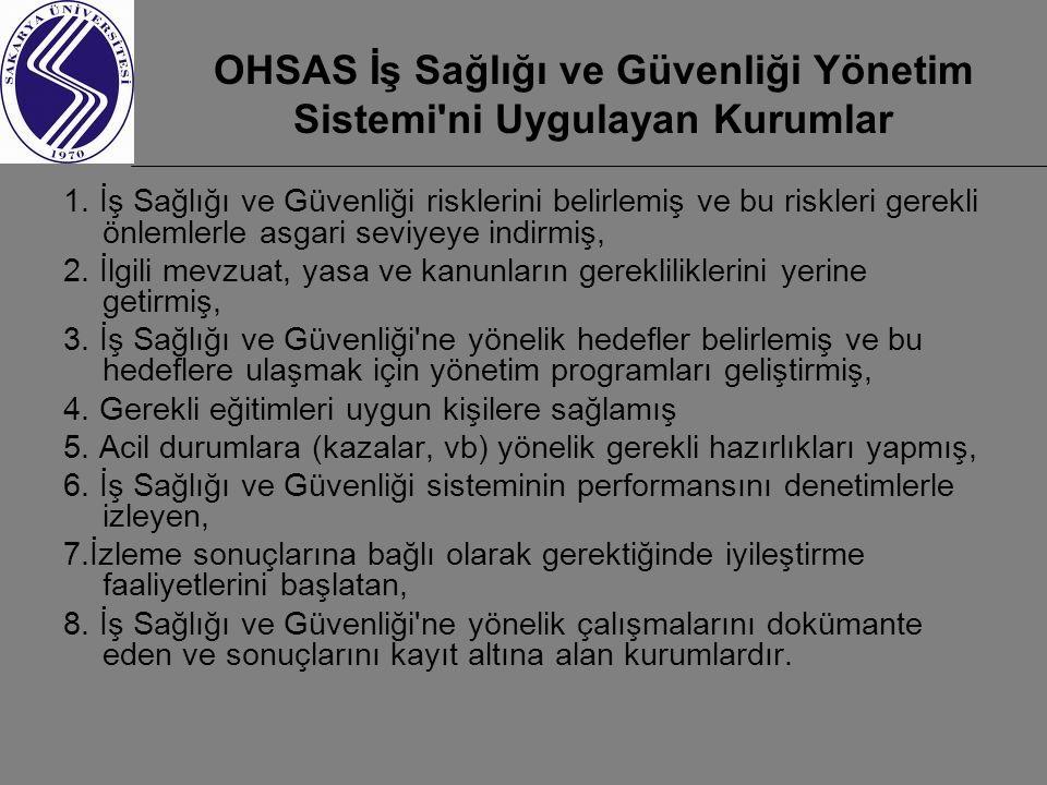OHSAS İş Sağlığı ve Güvenliği Yönetim Sistemi ni Uygulayan Kurumlar 1.