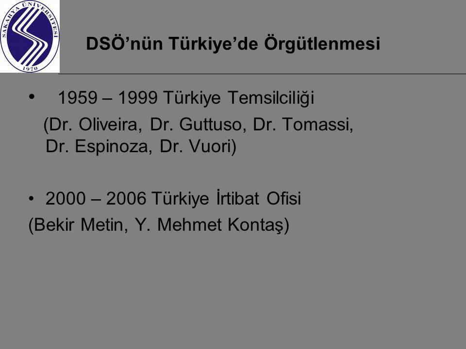 DSÖ'nün Türkiye'de Örgütlenmesi 1959 – 1999 Türkiye Temsilciliği (Dr. Oliveira, Dr. Guttuso, Dr. Tomassi, Dr. Espinoza, Dr. Vuori) 2000 – 2006 Türkiye