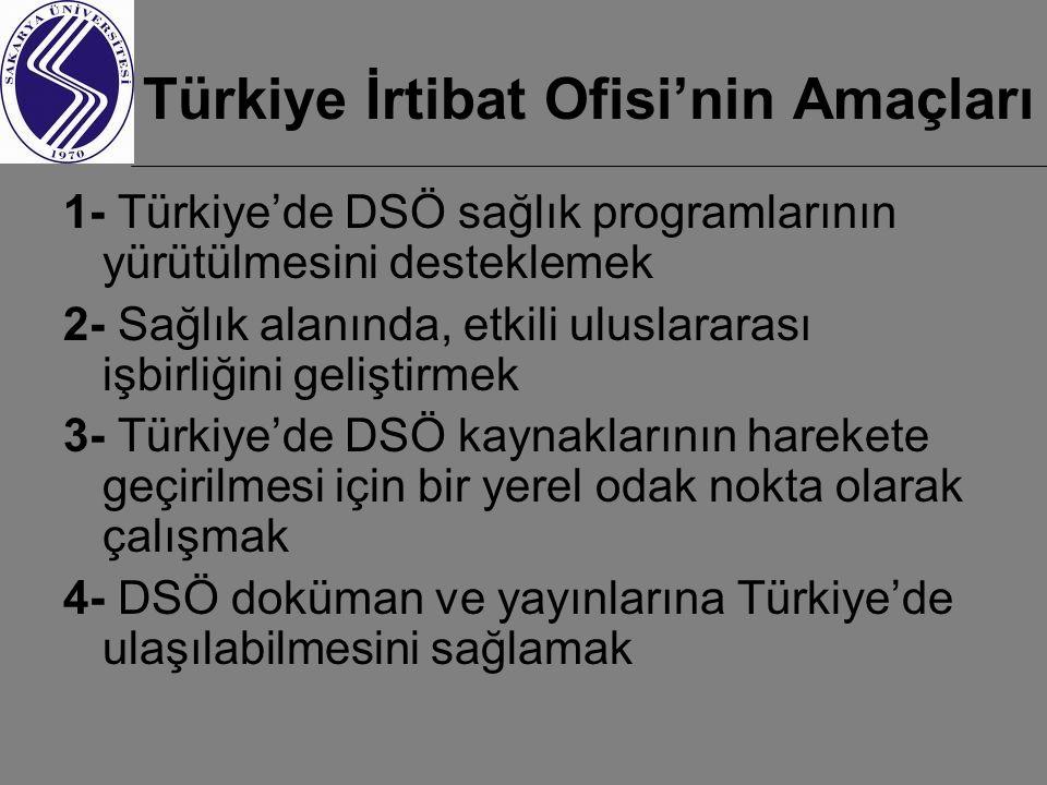 Türkiye İrtibat Ofisi'nin Amaçları 1- Türkiye'de DSÖ sağlık programlarının yürütülmesini desteklemek 2- Sağlık alanında, etkili uluslararası işbirliğini geliştirmek 3- Türkiye'de DSÖ kaynaklarının harekete geçirilmesi için bir yerel odak nokta olarak çalışmak 4- DSÖ doküman ve yayınlarına Türkiye'de ulaşılabilmesini sağlamak