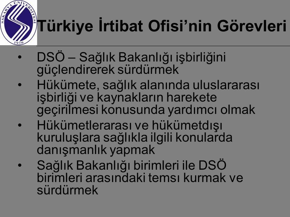 Türkiye İrtibat Ofisi'nin Görevleri DSÖ – Sağlık Bakanlığı işbirliğini güçlendirerek sürdürmek Hükümete, sağlık alanında uluslararası işbirliği ve kaynakların harekete geçirilmesi konusunda yardımcı olmak Hükümetlerarası ve hükümetdışı kuruluşlara sağlıkla ilgili konularda danışmanlık yapmak Sağlık Bakanlığı birimleri ile DSÖ birimleri arasındaki temsı kurmak ve sürdürmek