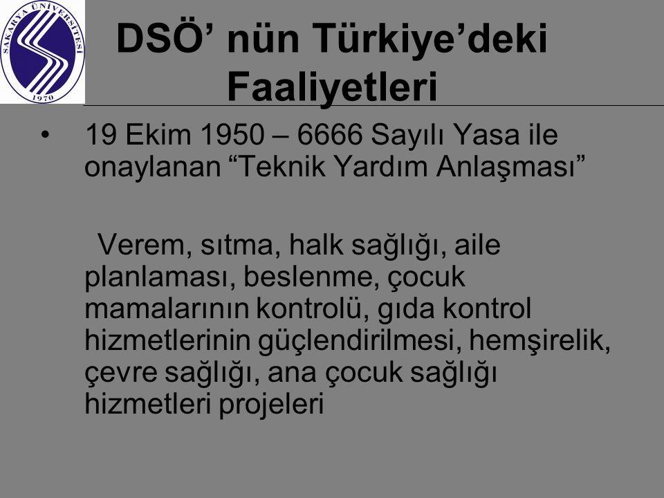 DSÖ' nün Türkiye'deki Faaliyetleri 19 Ekim 1950 – 6666 Sayılı Yasa ile onaylanan Teknik Yardım Anlaşması Verem, sıtma, halk sağlığı, aile planlaması, beslenme, çocuk mamalarının kontrolü, gıda kontrol hizmetlerinin güçlendirilmesi, hemşirelik, çevre sağlığı, ana çocuk sağlığı hizmetleri projeleri