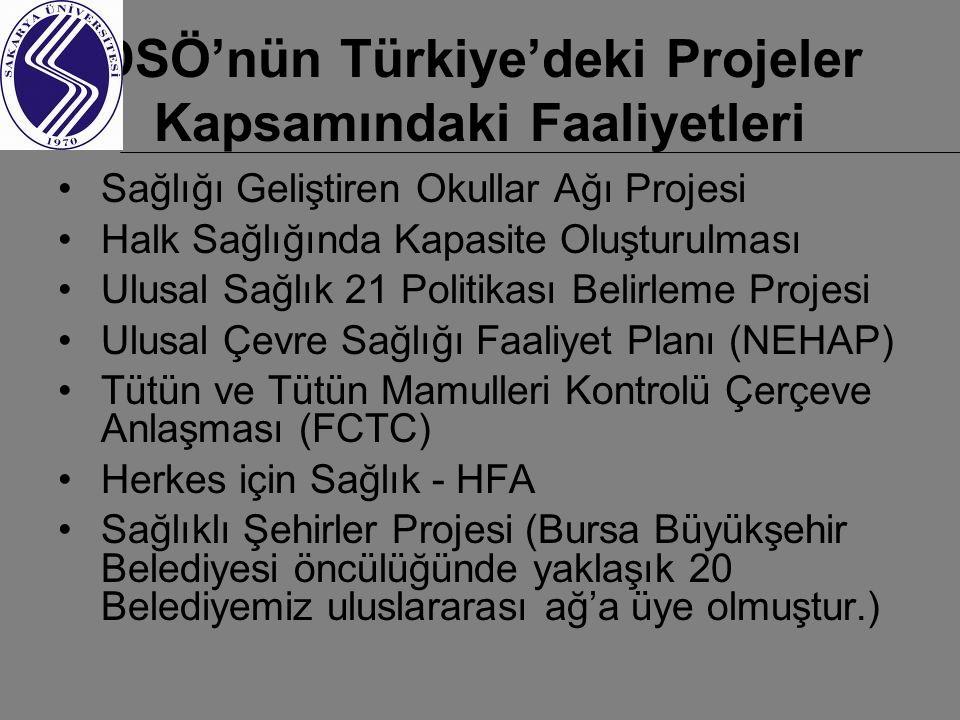 DSÖ'nün Türkiye'deki Projeler Kapsamındaki Faaliyetleri Sağlığı Geliştiren Okullar Ağı Projesi Halk Sağlığında Kapasite Oluşturulması Ulusal Sağlık 21 Politikası Belirleme Projesi Ulusal Çevre Sağlığı Faaliyet Planı (NEHAP) Tütün ve Tütün Mamulleri Kontrolü Çerçeve Anlaşması (FCTC) Herkes için Sağlık - HFA Sağlıklı Şehirler Projesi (Bursa Büyükşehir Belediyesi öncülüğünde yaklaşık 20 Belediyemiz uluslararası ağ'a üye olmuştur.)
