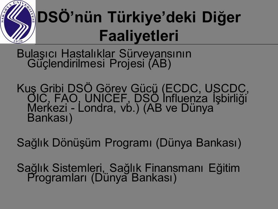 DSÖ'nün Türkiye'deki Diğer Faaliyetleri Bulaşıcı Hastalıklar Sürveyansının Güçlendirilmesi Projesi (AB) Kuş Gribi DSÖ Görev Gücü (ECDC, USCDC, OIC, FAO, UNICEF, DSÖ Influenza İşbirliği Merkezi - Londra, vb.) (AB ve Dünya Bankası) Sağlık Dönüşüm Programı (Dünya Bankası) Sağlık Sistemleri, Sağlık Finansmanı Eğitim Programları (Dünya Bankası)