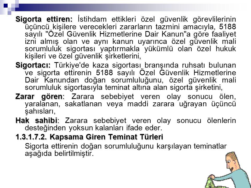 Sigorta ettiren: Sigorta ettiren: İstihdam ettikleri özel güvenlik görevlilerinin üçüncü kişilere verecekleri zararların tazmini amacıyla, 5188 sayılı Özel Güvenlik Hizmetlerine Dair Kanun a göre faaliyet izni almış olan ve aynı kanun uyarınca özel güvenlik mali sorumluluk sigortası yaptırmakla yükümlü olan özel hukuk kişileri ve özel güvenlik şirketlerini, Sigortacı: Sigortacı: Türkiye de kaza sigortası branşında ruhsatı bulunan ve sigorta ettirenin 5188 sayılı Özel Güvenlik Hizmetlerine Dair Kanundan doğan sorumluluğunu, özel güvenlik mali sorumluluk sigortasıyla teminat altına alan sigorta şirketini, Zarar gören: Zarar gören: Zarara sebebiyet veren olay sonucu ölen, yaralanan, sakatlanan veya maddi zarara uğrayan üçüncü şahısları, Hak sahibi: Hak sahibi: Zarara sebebiyet veren olay sonucu ölenlerin desteğinden yoksun kalanları ifade eder.
