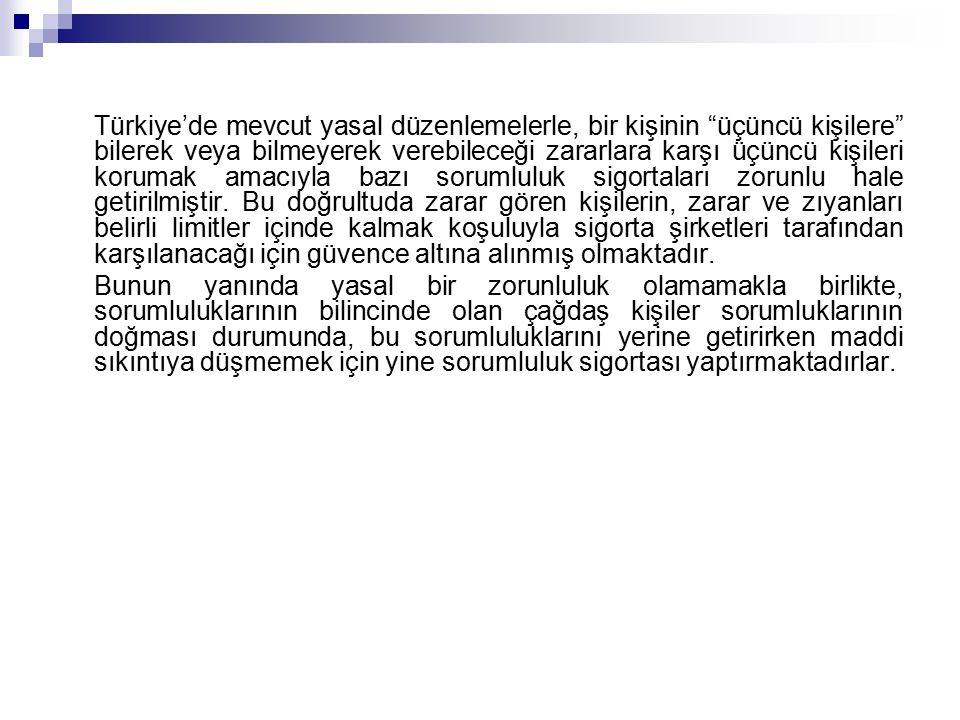 Türkiye'de mevcut yasal düzenlemelerle, bir kişinin üçüncü kişilere bilerek veya bilmeyerek verebileceği zararlara karşı üçüncü kişileri korumak amacıyla bazı sorumluluk sigortaları zorunlu hale getirilmiştir.