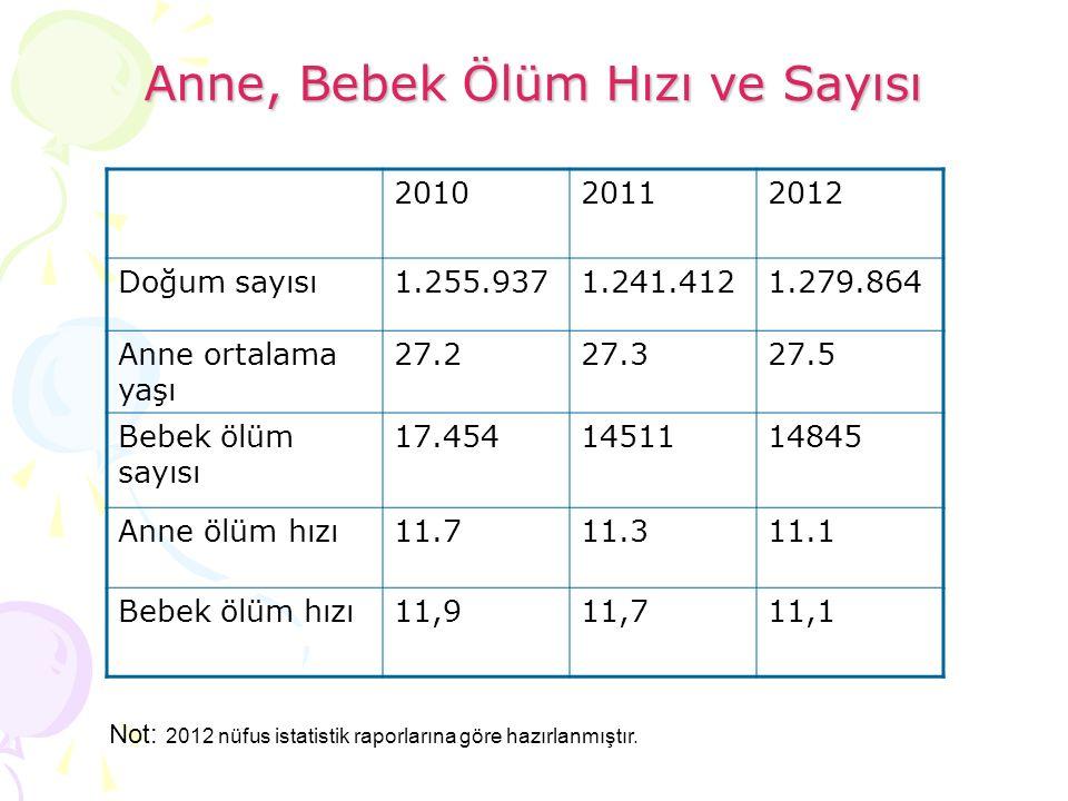 Anne, Bebek Ölüm Hızı ve Sayısı 201020112012 Doğum sayısı1.255.9371.241.4121.279.864 Anne ortalama yaşı 27.227.327.5 Bebek ölüm sayısı 17.454145111484