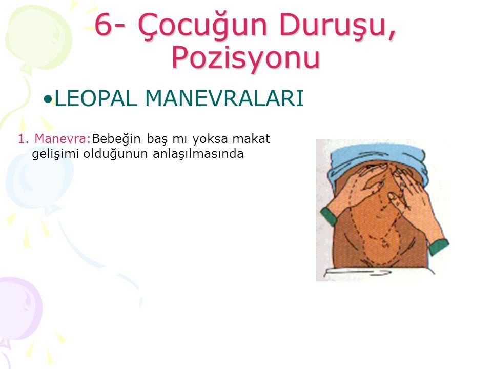 6- Çocuğun Duruşu, Pozisyonu 1. Manevra:Bebeğin baş mı yoksa makat gelişimi olduğunun anlaşılmasında LEOPAL MANEVRALARI