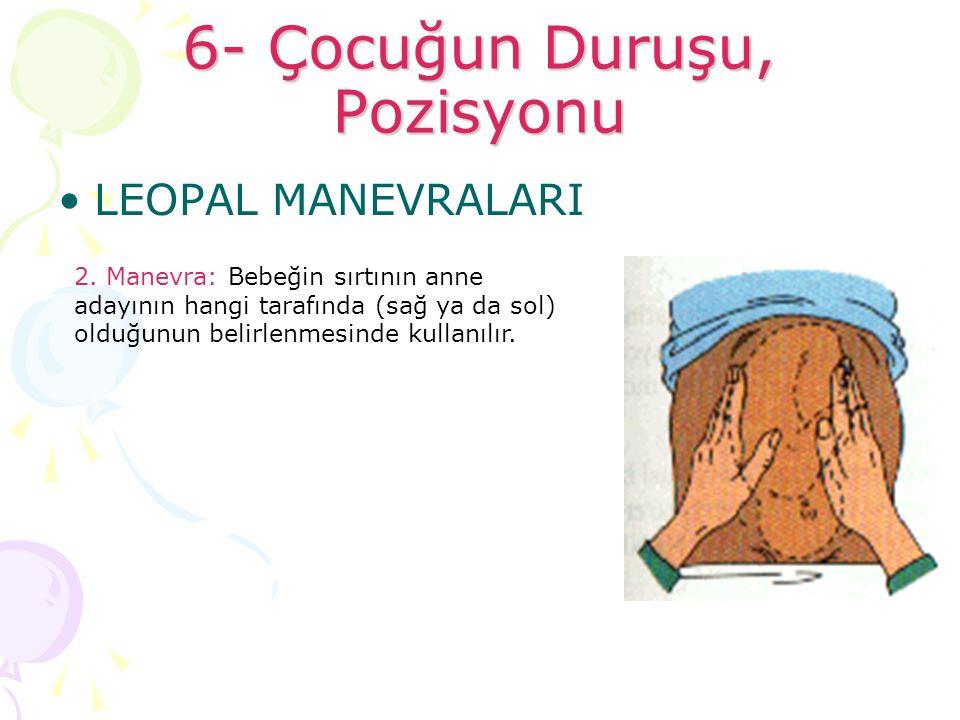 6- Çocuğun Duruşu, Pozisyonu LEOPAL MANEVRALARI 2. Manevra: Bebeğin sırtının anne adayının hangi tarafında (sağ ya da sol) olduğunun belirlenmesinde k