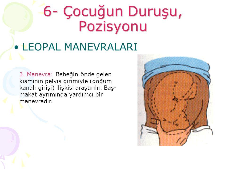 6- Çocuğun Duruşu, Pozisyonu LEOPAL MANEVRALARI 3. Manevra: Bebeğin önde gelen kısmının pelvis girimiyle (doğum kanalı girişi) ilişkisi araştırılır. B