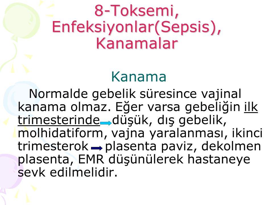 8-Toksemi, Enfeksiyonlar(Sepsis), Kanamalar Kanama Normalde gebelik süresince vajinal kanama olmaz. Eğer varsa gebeliğin ilk trimesterinde düşük, dış