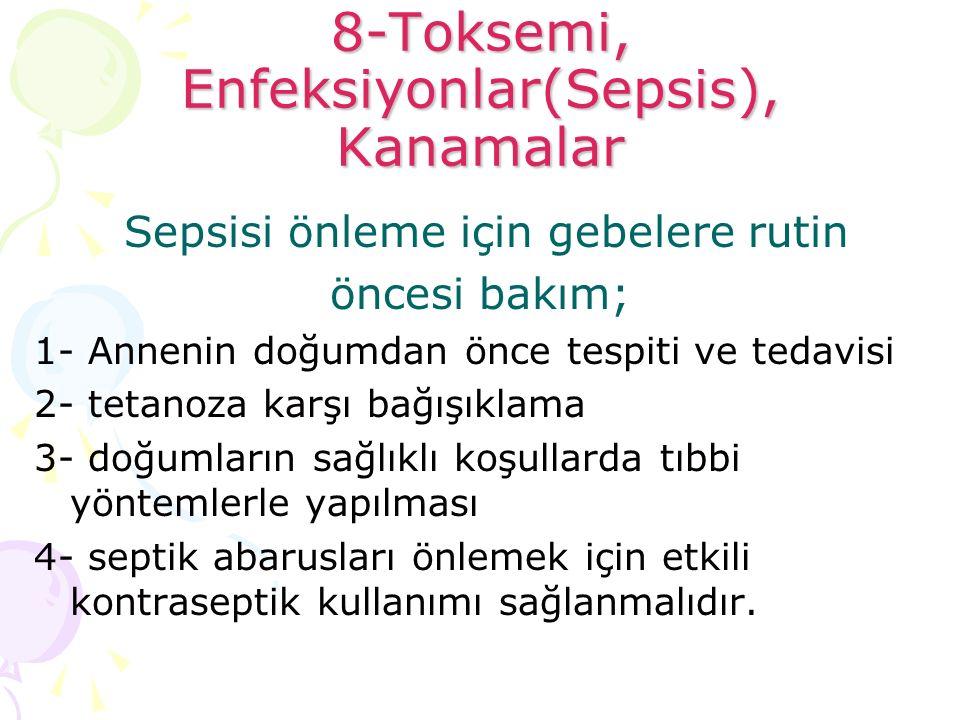 8-Toksemi, Enfeksiyonlar(Sepsis), Kanamalar Sepsisi önleme için gebelere rutin öncesi bakım; 1- Annenin doğumdan önce tespiti ve tedavisi 2- tetanoza
