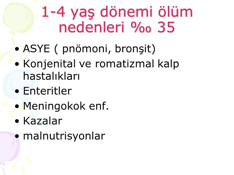 1-4 yaş dönemi ölüm nedenleri ‰ 35 ASYE ( pnömoni, bronşit) Konjenital ve romatizmal kalp hastalıkları Enteritler Meningokok enf. Kazalar malnutrisyon