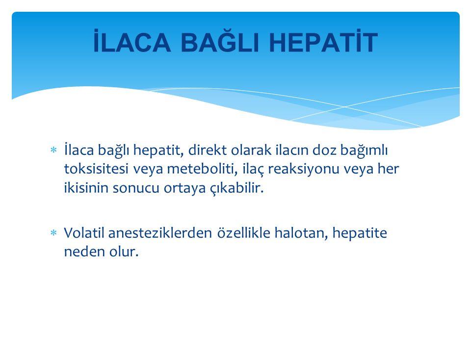 İlaca bağlı hepatit, direkt olarak ilacın doz bağımlı toksisitesi veya meteboliti, ilaç reaksiyonu veya her ikisinin sonucu ortaya çıkabilir.