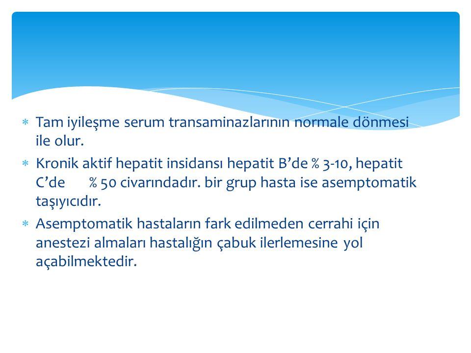  Tam iyileşme serum transaminazlarının normale dönmesi ile olur.