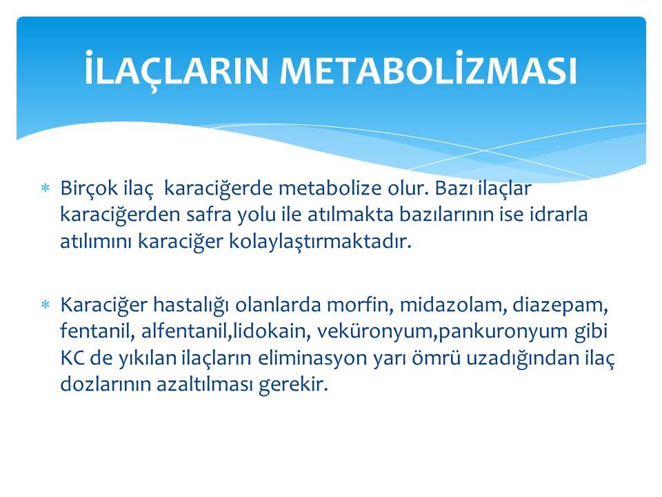  Birçok ilaç karaciğerde metabolize olur.