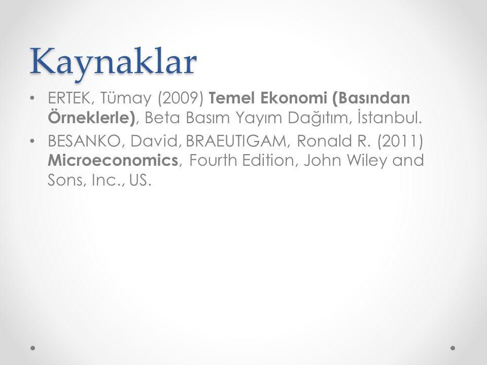 Kaynaklar ERTEK, Tümay (2009) Temel Ekonomi (Basından Örneklerle), Beta Basım Yayım Dağıtım, İstanbul. BESANKO, David, BRAEUTIGAM, Ronald R. (2011) Mi
