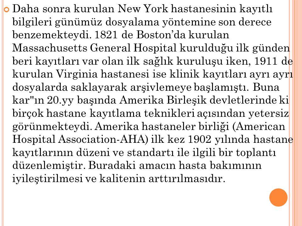Daha sonra kurulan New York hastanesinin kayıtlı bilgileri günümüz dosyalama yöntemine son derece benzemekteydi. 1821 de Boston'da kurulan Massachuset