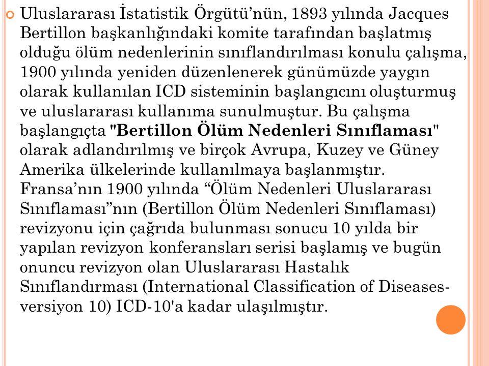Uluslararası İstatistik Örgütü'nün, 1893 yılında Jacques Bertillon başkanlığındaki komite tarafından başlatmış olduğu ölüm nedenlerinin sınıflandırılm