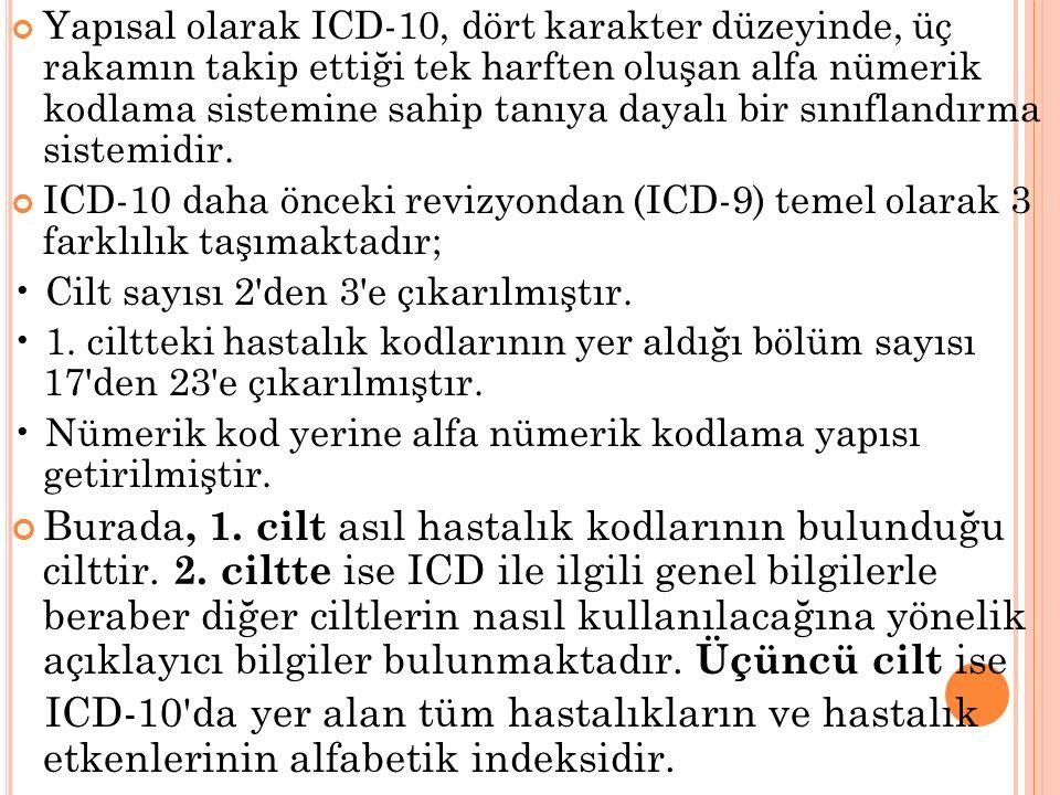 Yapısal olarak ICD-10, dört karakter düzeyinde, üç rakamın takip ettiği tek harften oluşan alfa nümerik kodlama sistemine sahip tanıya dayalı bir sını
