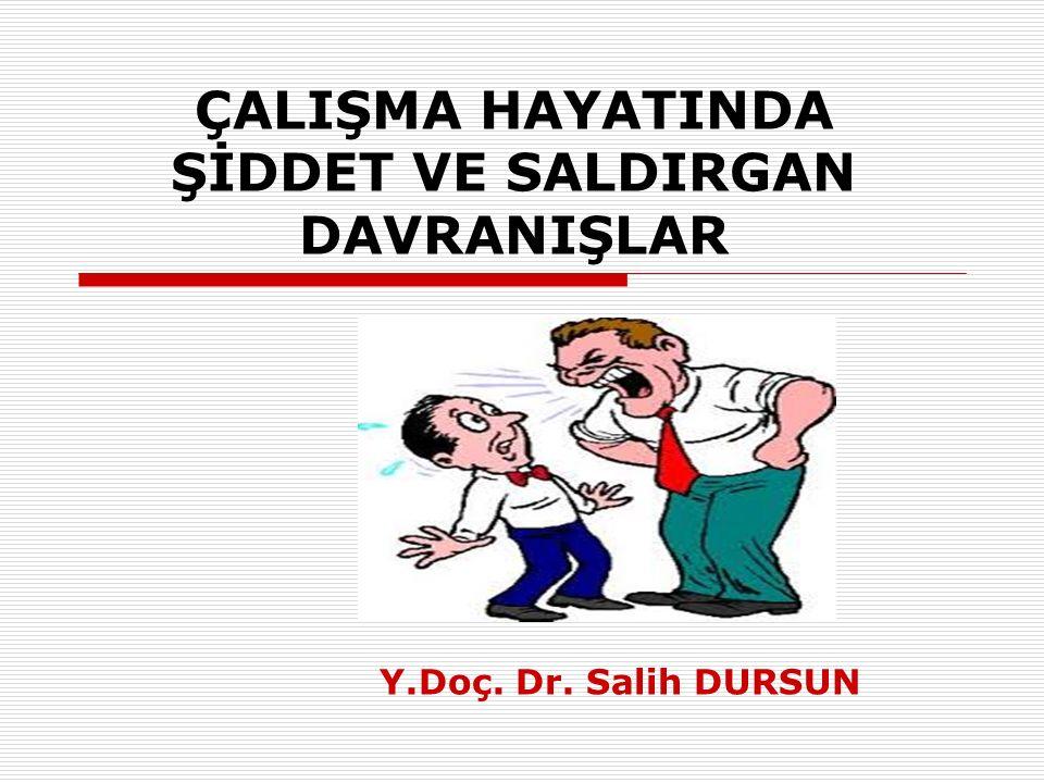 ÇALIŞMA HAYATINDA ŞİDDET VE SALDIRGAN DAVRANIŞLAR Y.Doç. Dr. Salih DURSUN