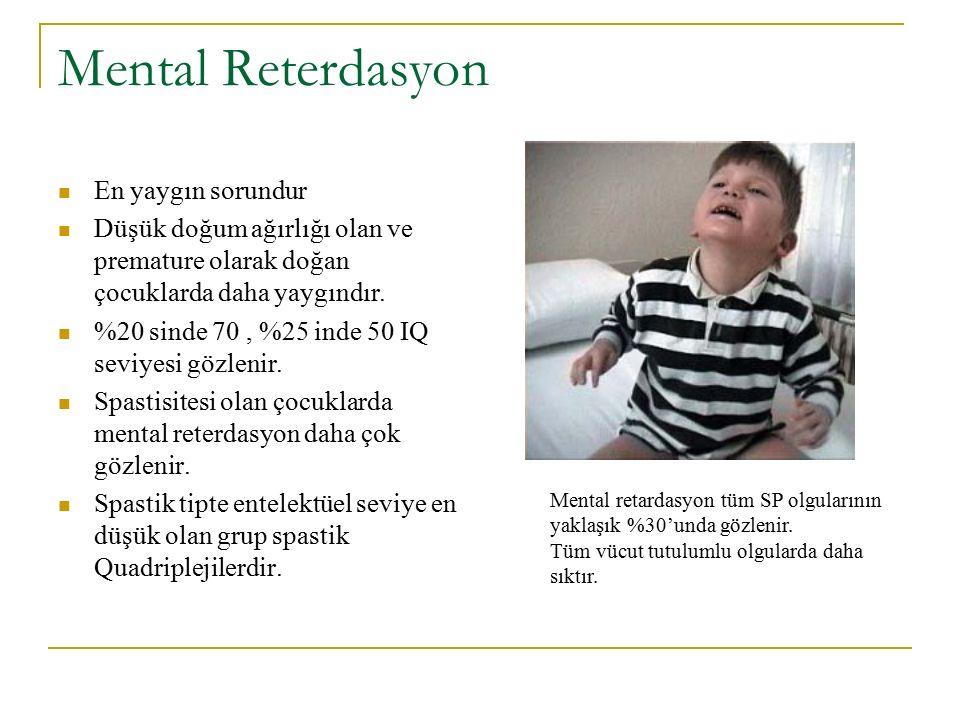 Mental Reterdasyon En yaygın sorundur Düşük doğum ağırlığı olan ve premature olarak doğan çocuklarda daha yaygındır. %20 sinde 70, %25 inde 50 IQ sevi