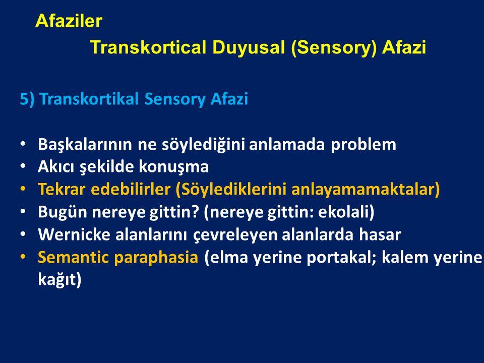 5) Transkortikal Sensory Afazi Başkalarının ne söylediğini anlamada problem Akıcı şekilde konuşma Tekrar edebilirler (Söylediklerini anlayamamaktalar)