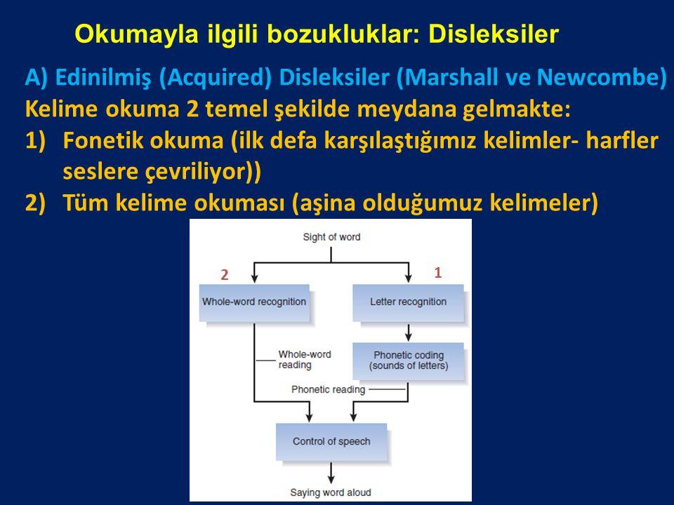 Okumayla ilgili bozukluklar: Disleksiler A) Edinilmiş (Acquired) Disleksiler (Marshall ve Newcombe) Kelime okuma 2 temel şekilde meydana gelmakte: 1)F