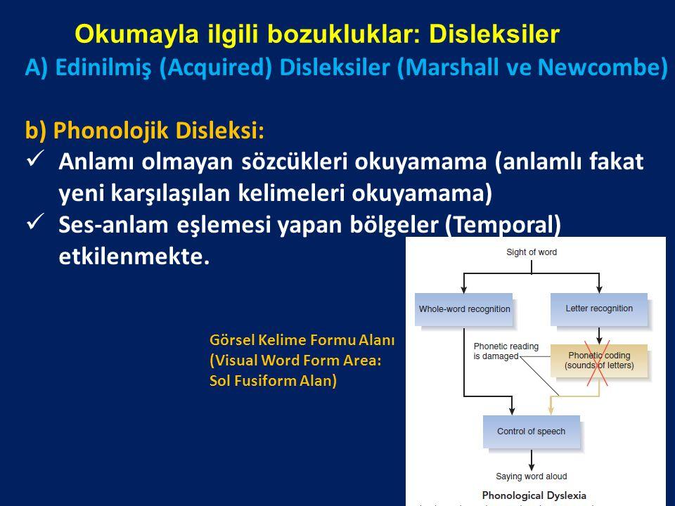 Okumayla ilgili bozukluklar: Disleksiler A) Edinilmiş (Acquired) Disleksiler (Marshall ve Newcombe) b) Phonolojik Disleksi: Anlamı olmayan sözcükleri