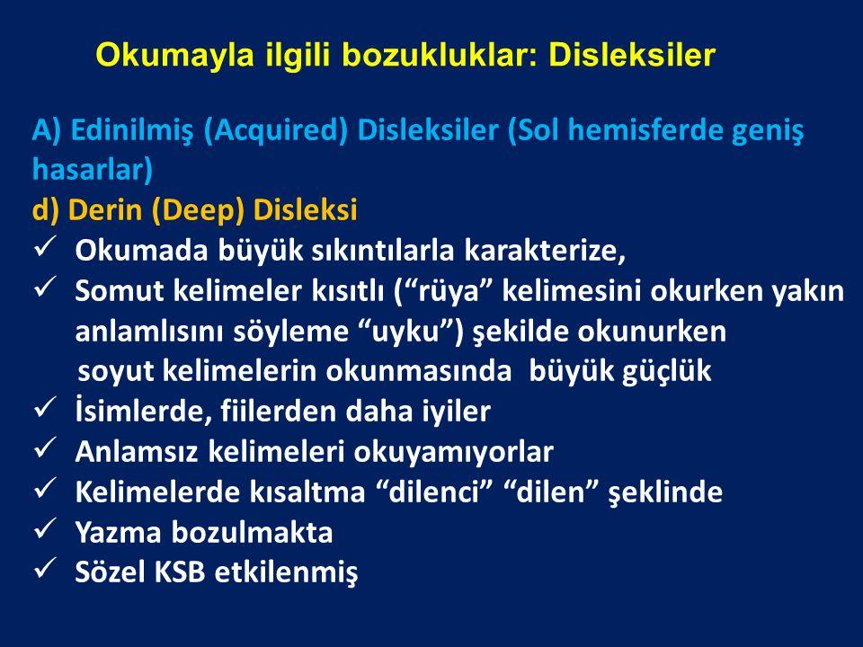Okumayla ilgili bozukluklar: Disleksiler A) Edinilmiş (Acquired) Disleksiler (Sol hemisferde geniş hasarlar) d) Derin (Deep) Disleksi Okumada büyük sı