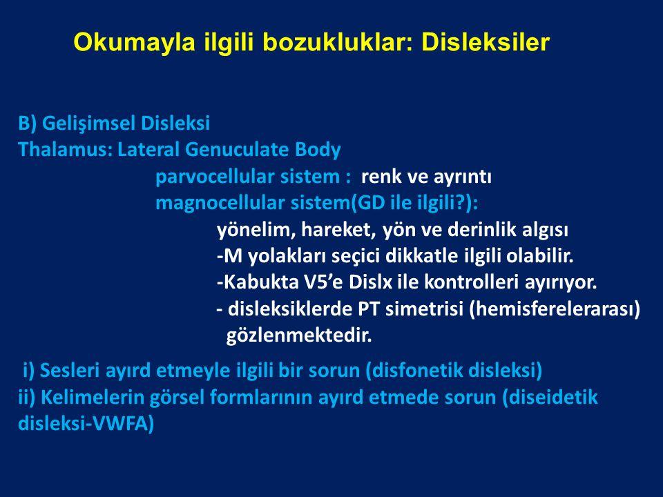Okumayla ilgili bozukluklar: Disleksiler B) Gelişimsel Disleksi Thalamus: Lateral Genuculate Body parvocellular sistem : renk ve ayrıntı magnocellular