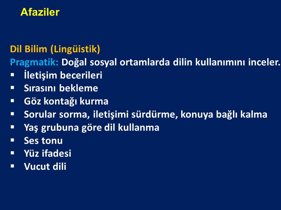 Afaziler Dil Bilim (Lingüistik) Pragmatik: Doğal sosyal ortamlarda dilin kullanımını inceler.  İletişim becerileri  Sırasını bekleme  Göz kontağı k