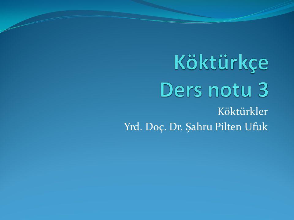Köktürkler Yrd. Doç. Dr. Şahru Pilten Ufuk