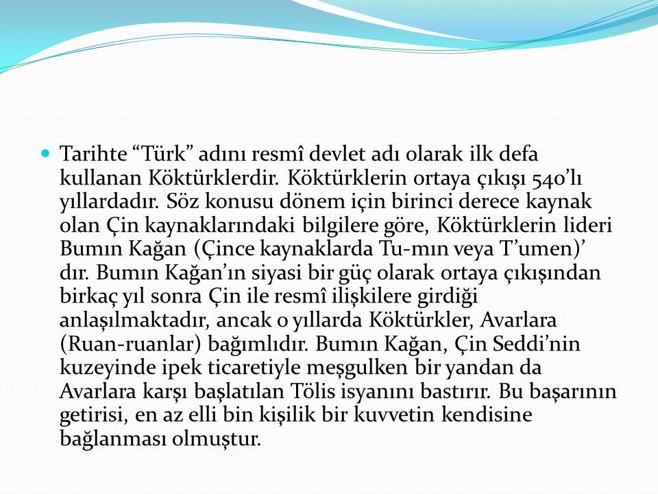"""Tarihte """"Türk"""" adını resmî devlet adı olarak ilk defa kullanan Köktürklerdir. Köktürklerin ortaya çıkışı 540'lı yıllardadır. Söz konusu dönem için bir"""