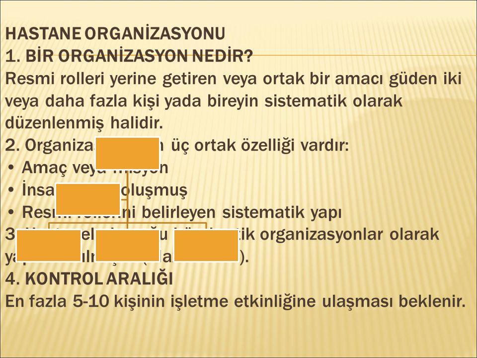 HASTANE ORGANİZASYONU 1.BİR ORGANİZASYON NEDİR.