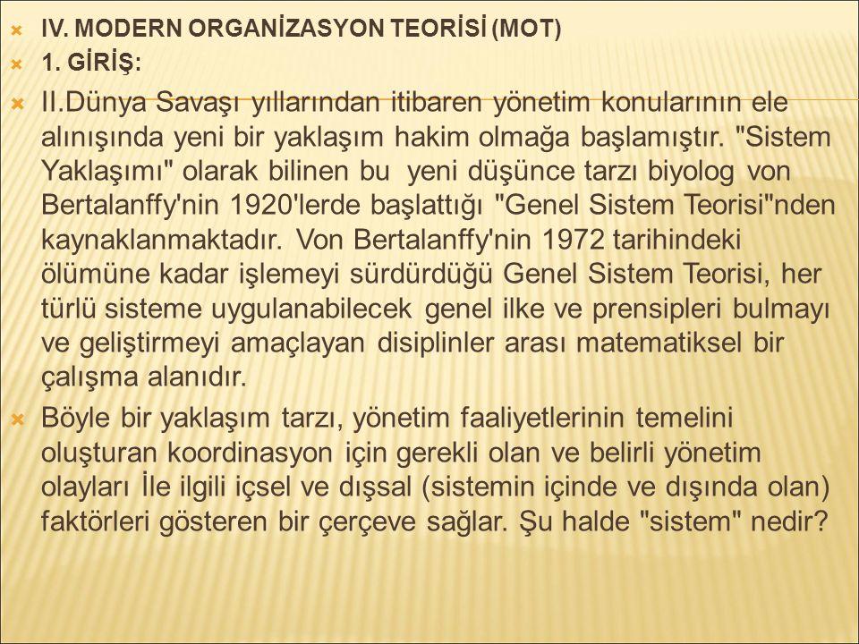  IV.MODERN ORGANİZASYON TEORİSİ (MOT)  1.