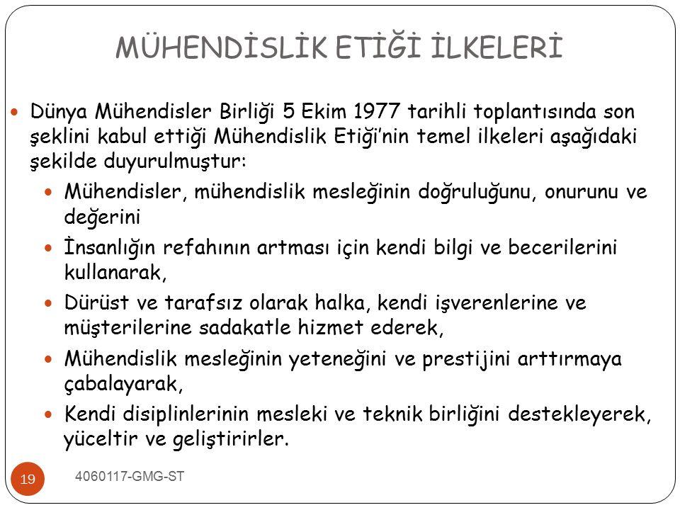 4060117-GMG-ST 19 Dünya Mühendisler Birliği 5 Ekim 1977 tarihli toplantısında son şeklini kabul ettiği Mühendislik Etiği'nin temel ilkeleri aşağıdaki