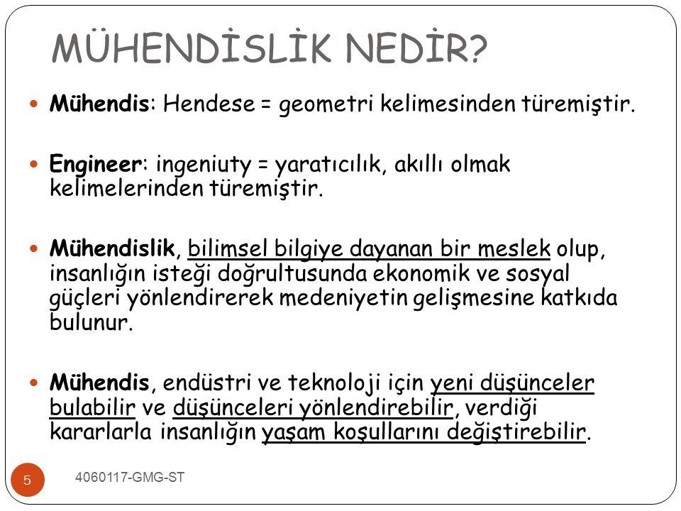 5 Mühendis: Hendese = geometri kelimesinden türemiştir. Engineer: ingeniuty = yaratıcılık, akıllı olmak kelimelerinden türemiştir. Mühendislik, bilims