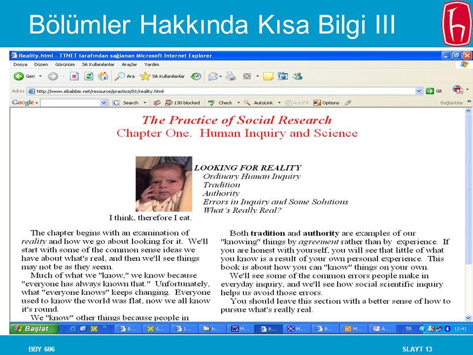 SLAYT 13BBY 606 Bölümler Hakkında Kısa Bilgi III
