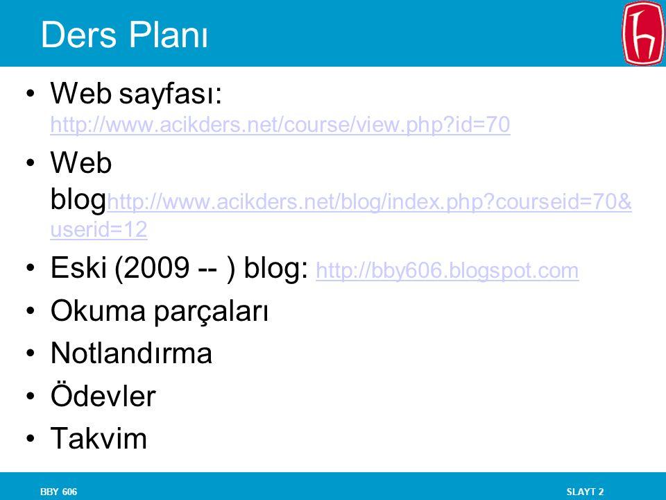 SLAYT 2BBY 606 Ders Planı Web sayfası: http://www.acikders.net/course/view.php?id=70 http://www.acikders.net/course/view.php?id=70 Web blog http://www.acikders.net/blog/index.php?courseid=70& userid=12 http://www.acikders.net/blog/index.php?courseid=70& userid=12 Eski (2009 -- ) blog: http://bby606.blogspot.com http://bby606.blogspot.com Okuma parçaları Notlandırma Ödevler Takvim