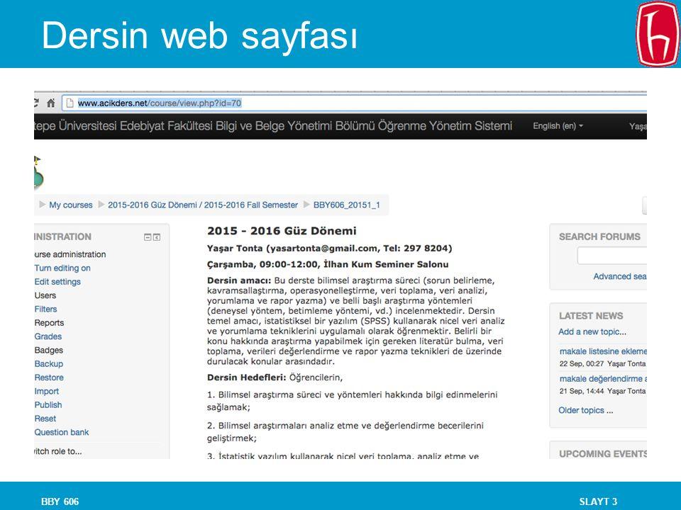 SLAYT 3 Dersin web sayfası BBY 606
