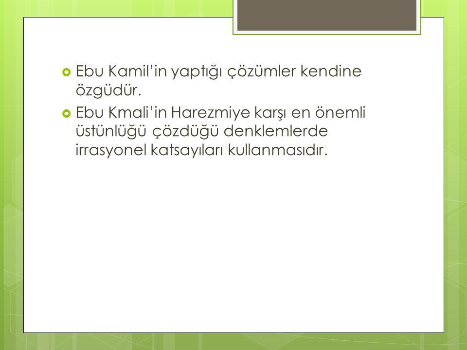  Ebu Kamil'in yaptığı çözümler kendine özgüdür.  Ebu Kmali'in Harezmiye karşı en önemli üstünlüğü çözdüğü denklemlerde irrasyonel katsayıları kullan
