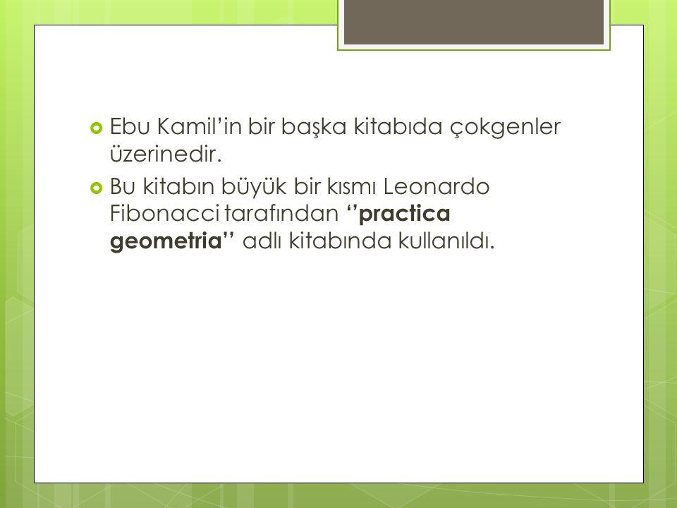 Ebu Kamil'in bir başka kitabıda çokgenler üzerinedir.  Bu kitabın büyük bir kısmı Leonardo Fibonacci tarafından ''practica geometria'' adlı kitabın
