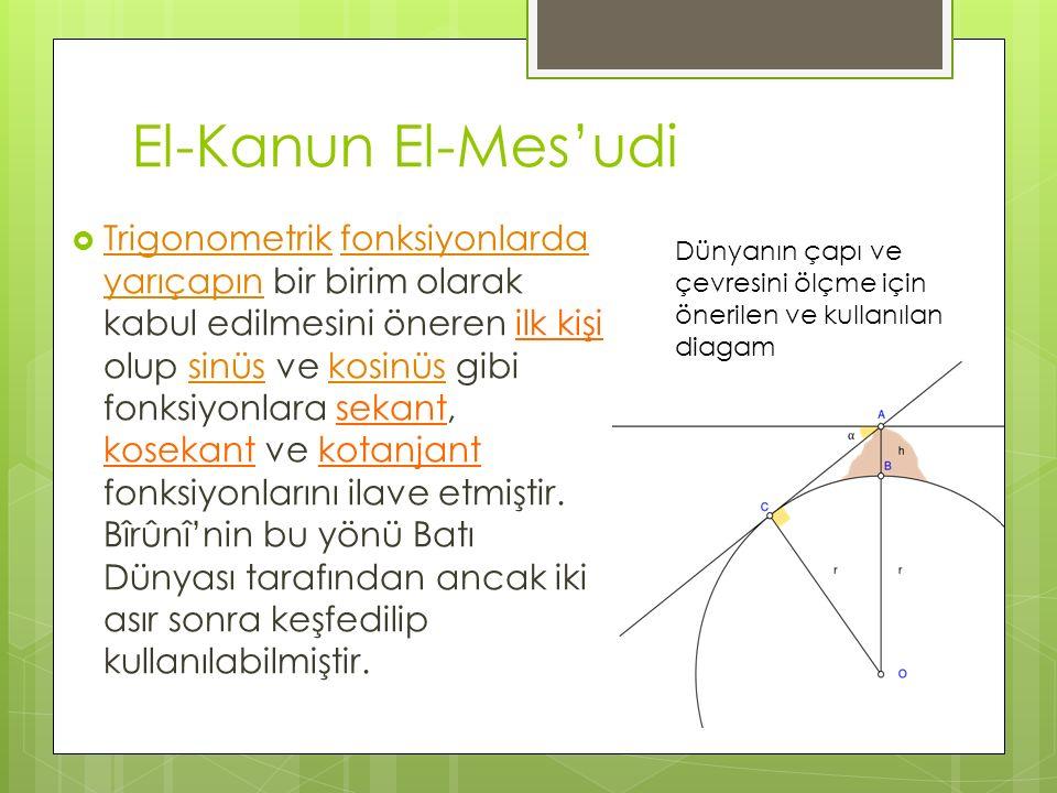 El-Kanun El-Mes'udi  Trigonometrik fonksiyonlarda yarıçapın bir birim olarak kabul edilmesini öneren ilk kişi olup sinüs ve kosinüs gibi fonksiyonlar