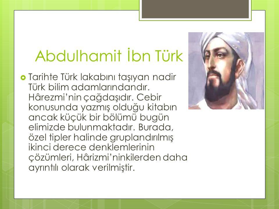 Abdulhamit İbn Türk  Tarihte Türk lakabını taşıyan nadir Türk bilim adamlarındandır. Hârezmi'nin çağdaşıdır. Cebir konusunda yazmış olduğu kitabın an
