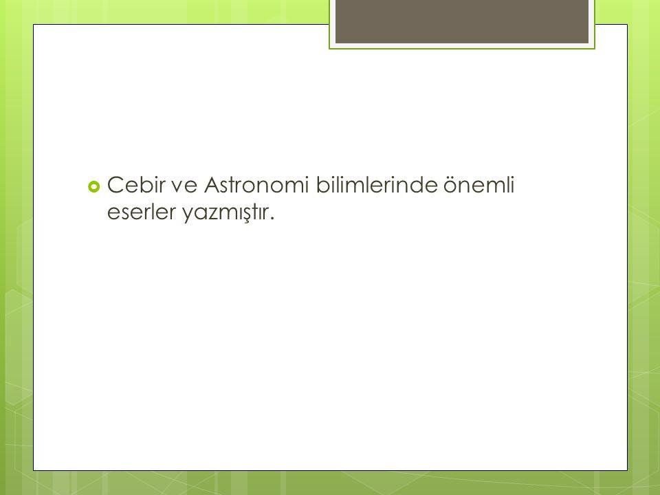  Cebir ve Astronomi bilimlerinde önemli eserler yazmıştır.