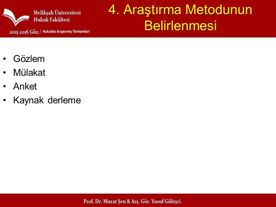4. Araştırma Metodunun Belirlenmesi Gözlem Mülakat Anket Kaynak derleme