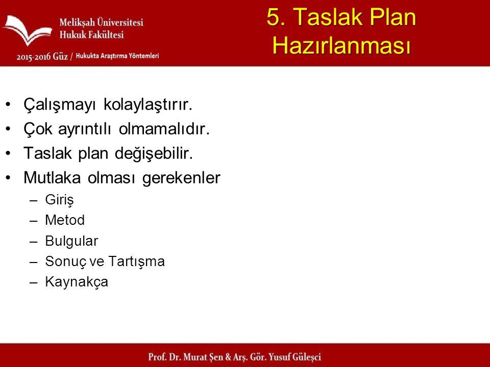 5. Taslak Plan Hazırlanması Çalışmayı kolaylaştırır. Çok ayrıntılı olmamalıdır. Taslak plan değişebilir. Mutlaka olması gerekenler –Giriş –Metod –Bulg
